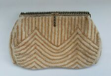 Vtg Art Deco Ivory & Pearl Glass Beaded Clutch Bag Bridal Wedding Purse