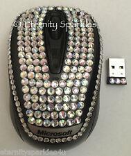 Personalizzati Crystal Design Microsoft Argento Shimmer Diamante USB Wireless Mouse