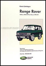 Range Rover Parts Book 1995 1994 1993 1992 Illustrated Catalog with Part Numbers