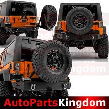 "Rock Crawler Rear Bumper+Swing Tire Carrier+2"" Hitch For 07-17 Jeep JK Wrangler"
