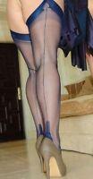 NEW NAVY BLUE GIO Fully Fashioned Nylon Cuban Heel Seamed Stockings 8.5 X Small