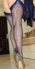 -NEW NAVY BLUE GIO Fully Fashioned Nylon Cuban Heel Seamed Stockings 8.5 X Small
