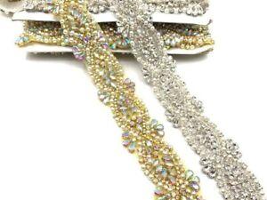 11'' Luxury Gold&silver Crystal Beaded Wedding Belt Rhinestone Diamond Diamante
