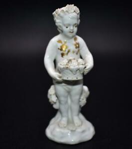 Antique 18thC Derby Porcelain Gilded Putti Cherub Figure Circa 1770