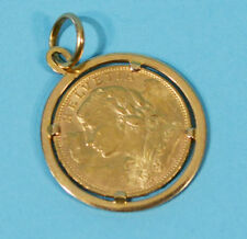 Antique Estate 1913 Swiss 20 Franc Frank Gold Coin Pendant