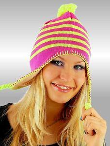 Damen Girly Winter Strick Mütze Kappe gestreift Bommel ringel NEU pink gelb