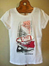 Converse White T-Shirt Sneakers Graphic Converse Logo Girls Small 8 10 yrs Nwt