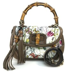 GUCCI 254884 New bamboo tassel flora Shoulder Bag Hand Bag Leather/Canvas White
