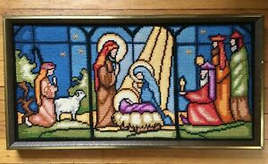 """Vintage Framed Needlepoint Picture - Christmas """"Stained Glass"""" Nativity Scene"""
