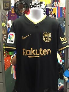 Nike Fc Barcelona Away 20-21 Black Gold Soccer Jersey Size Youth Small Only