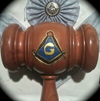 12 INCH GAVEL WITH HAND-CARVED & HAND-PAINTED MASONIC SQUARE & COMPASSES W/ 'G'