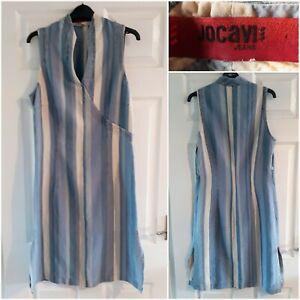 Jocavi Jeans Striped Blue Dress Size 12 Denim Look Linen Blend Sleeveless Y2K