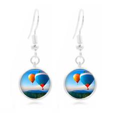 Hot air balloon glass Frea Earrings Art Photo Tibet silver Earring Jewelry #311