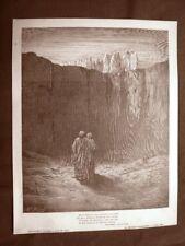 Incisione Gustave Dorè del 1890 Moltitudine di Anime Divina Commedia Purgatorio