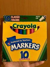 Used Crayola Broad Line Markers, 9 Count, Black Marker Missing