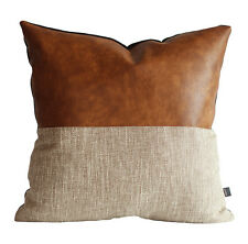 Kdays Halftan Pillow Cover Designer Modern Throw Pillow Faux Leather Pillowcase