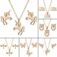 Fashion Stainless Steel Women Jewelry Set Butterfly Pendant Necklace Earrings
