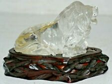 VERY OLD CHINESE ROCK CRYSTAL LION ON LOVELY OLD FITTED WOODEN STAND - RARE L@@K
