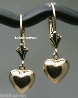 NEW Solid 14K Yellow Gold Leverback Earrings Puffed Heart 1g Shiny & SWEET