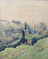 Watercolour Representative Un Landscape Mountain Signed Mountain Lyon Alps Jura