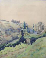 Aquarelle représentant un paysage de montagne signé Montagne Lyon Alpes Jura