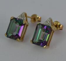 Art Deco Design Mystic Topaz & Diamond 9ct Gold Ladies Stud Earrings P1987