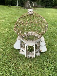 Original Antique Victorian Wood And Wire Balloon Top Birdcage Looks Amazing!!!