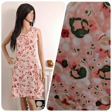 Vintage 70s Pink Floral Pansy Mini A line Shift Sun Dress Boho 10 12 38 40