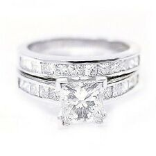 1.96 Ct. Princess Cut Diamond Engagement Bridal Set
