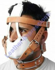 REAL LEATHER BONDAGE PADDED MUZZLE HEAD HARNESS HOSPITAL STYLE FREE P&P UK