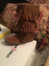 Minnetonka 3 layer fringe suede brown boots woman's size 10