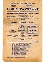 Aldershot v Crystal Palace Reserves Programme 24.12.1955 Football Combination