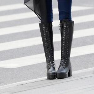 Womens Side Zip  Block Heel Lace Up Combat Knee High Knight Boots Platform Shoes