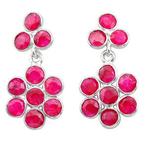 October Sale 7.65cts Natural Red Ruby Silver Chandelier Earrings Jewelry T38929