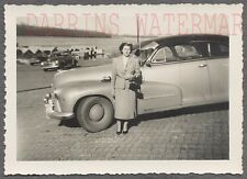 Vintage Car Photo Woman w/ 1946 1947 Oldsmobile Olds Automobile 734074