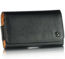 Black Genuine Leather Case Clip Luxmo Horizontal Pouch for Apple iPhone 5 5S SE