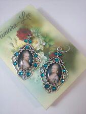 Lady Marie Antoinette Edwardian glass cabochon cocktail zircon crystal  earrings
