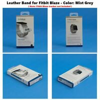 NEW Fitbit Blaze Accessory replacement Gray Leather Wrist Band & Frame S/L