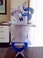 Peacock Wedding Day. Anniversary pop up card & stand Personalised