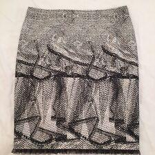 LIZ JORDAN BLACK:WHITE SNAKESKIN  RUFFLE PRINT COTTON STRETCH SKIRT Size 16 NWOT