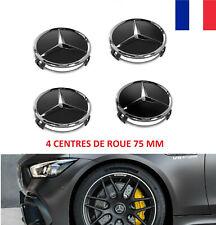 4x Cache Moyeu MERCEDES BENZ Noir Mat Logo 75 mm Centre Roue jante Embleme Neuf