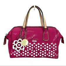 Guess Women's Pink Laser Cut Floral Satchel Handbag Purse Animal Print Lining