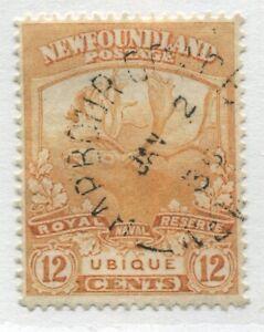 Newfoundland 1919 Caribou 12 cents orange CDS used