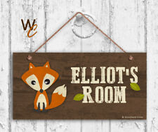 Fox Sign, Woodland Personalized Sign, Kid's Name, Kids Door Sign, 5x10 Sign
