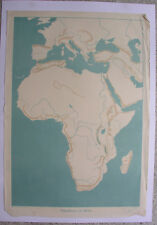 Mural Contour de carte d'Afrique 1939 de la pratique Schulmann Vintage 64x92cm