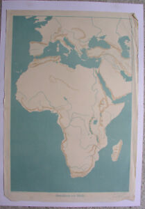 Wall Map Umrisskarte From Africa 1939 the Practical Schulmann Vintage