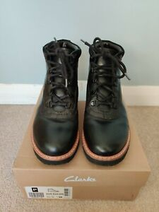 CLARKS Korik Rock GTX Black Leather Waterproof Comfy Walking Boots UK 5.5 EU 39