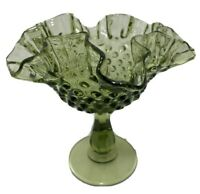 """Fenton Green Hobnail Glass Ruffled Compote Footed Candy Dish Bowl 6""""H x 6""""W Vtg"""