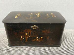 Antique Asian Black Lacquer Tea Caddy Caddie w/ Figures & Building Decoration
