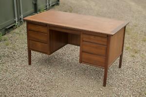 Vintage Military MOD 1960s Teak 5 Drawer Twin Partners Executive Desk Danish